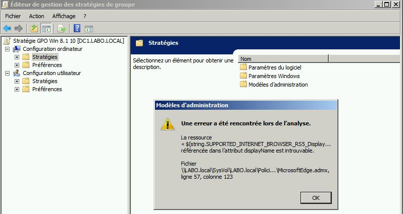 Intégrer GPO Windows 8 1 ou Windows 10 au Serveur 2008 R2